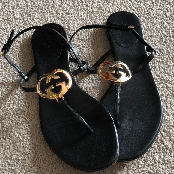 8a94d4efd61f Gucci Shoes - Gucci flat leather sandals size 37   7 authentic